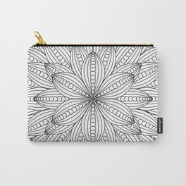 Geometric Flower Mandala - Color Your Own  Carry-All Pouch