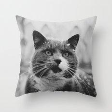 The Gray Cat Throw Pillow