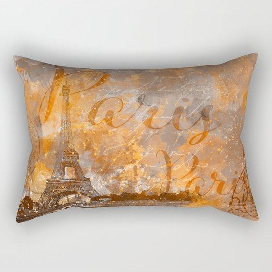 Paris Eifel Tower orange mixed media art Rectangular Pillow