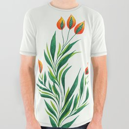Abstract Green Plant With Orange Buds All Over Graphic Tee