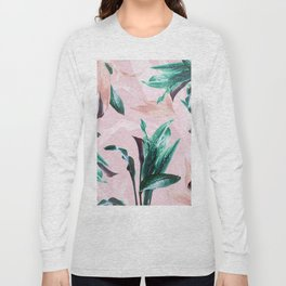 Tropical Floral on Pink. Odessa Calla Lily Long Sleeve T-shirt