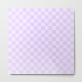 Large Chalky Pale Lilac Pastel Checkerboard Metal Print
