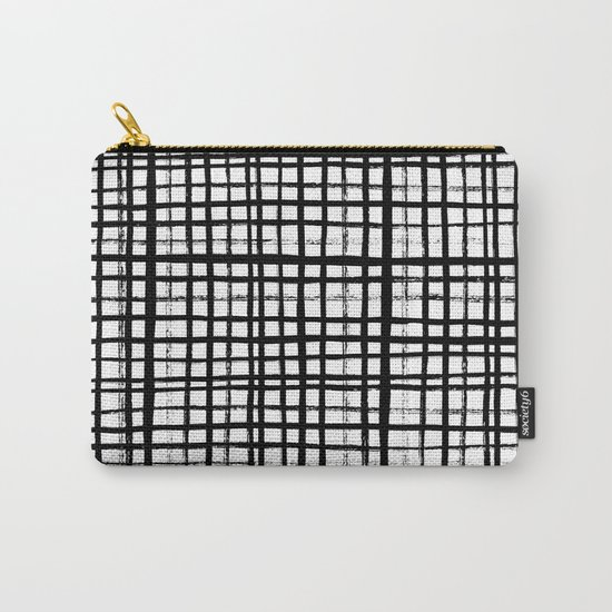 Essie - Grid, Black and White, BW, grid, square, paint, design, art Carry-All Pouch