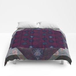 Lotus flower patchwork - woodblock print style pattern Comforters