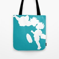 ponyo Tote Bags featuring STUDIO GHIBLI'S PONYO by The Fugu Project