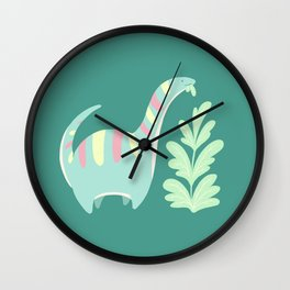 Cute Dino Eats Leaves Wall Clock