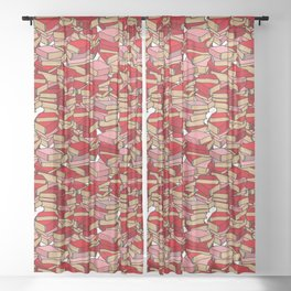 Book Collection in Red Sheer Curtain