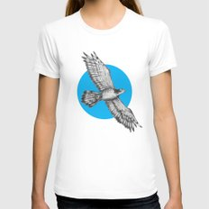 Flying Hawk LARGE White Womens Fitted Tee