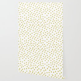 Simply Dots in Mod Yellow on White Wallpaper
