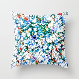 Glass stain mosaic 3 floral - by Brian Vegas Throw Pillow