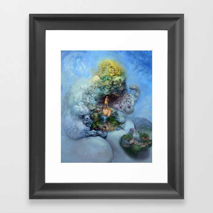 BLUE GOLD FANTASIA Framed Art Print