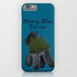 Merry Blue Terrier (Blue Background) iPhone Case