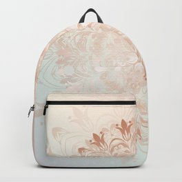Rose Gold Blush Mint Floral Mandala Backpack