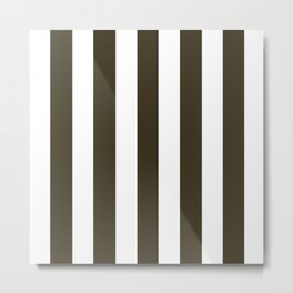 Olive Drab #7 brown - solid color - white vertical lines pattern Metal Print
