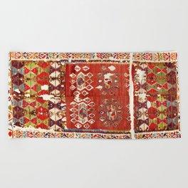 Hotamis  Antique Turkish Karapinar  Kilim Print Beach Towel