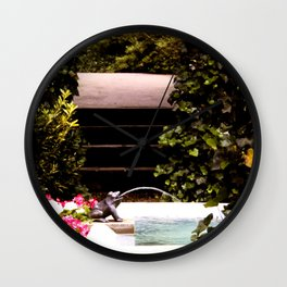 Secret Garden with Frog Prince Fountain Wall Clock