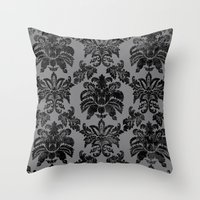 damask Throw Pillows featuring DAMASK by pike design