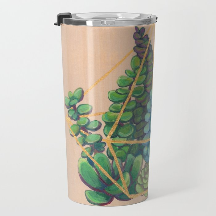 Geometric Terrarium 1 Acrylic on Wood Painting Travel Mug