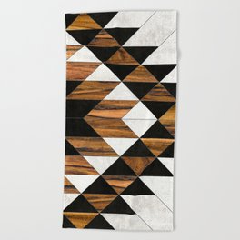 Urban Tribal Pattern 9 - Aztec - Concrete and Wood Beach Towel