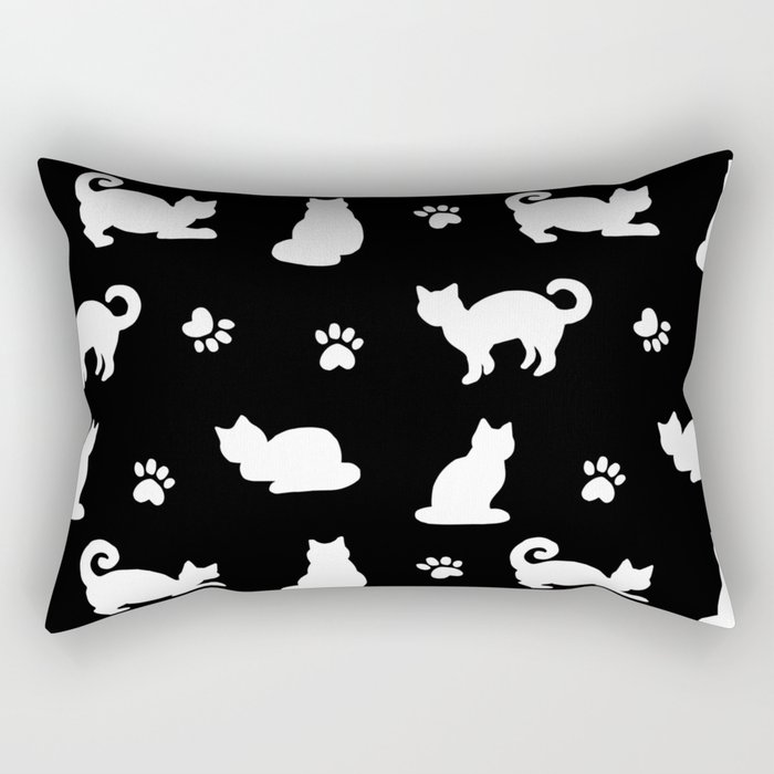 White Cats and Paw Prints Pattern on Black Rectangular Pillow