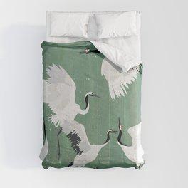 Dancing cranes - jade green Comforters
