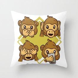 Monkey smilies Throw Pillow