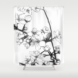 Cherry Blossoms Minimal Drawing Shower Curtain