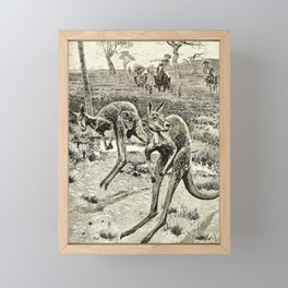 Vintage Print - All About Animals (1900) - A Kangaroo Hunt Framed Mini Art Print