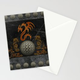 Awesome tribal dragon made of metal Stationery Cards