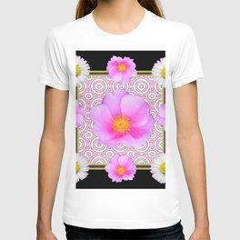 Modern Art Style Shasta Daisy Pink Roses  Black Color Abstract art T-shirt