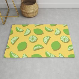Green Lime Slice Pattern on Yellow Rug