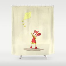 Girl with Kite Shower Curtain