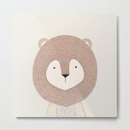 Lion, Baby Safari Animals Nursery Metal Print