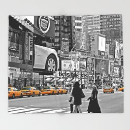 NYC - Yellow Cabs - Times Square Throw Blanket