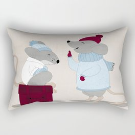 Mom and baby mice Rectangular Pillow
