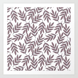 Mauve pink brown modern hand painted fall leaves Art Print