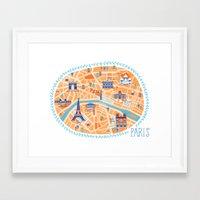 paris map Framed Art Prints featuring Paris Map by Emily Golden