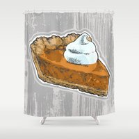 pie Shower Curtains featuring Pumpkin Pie by Katy V. Meehan