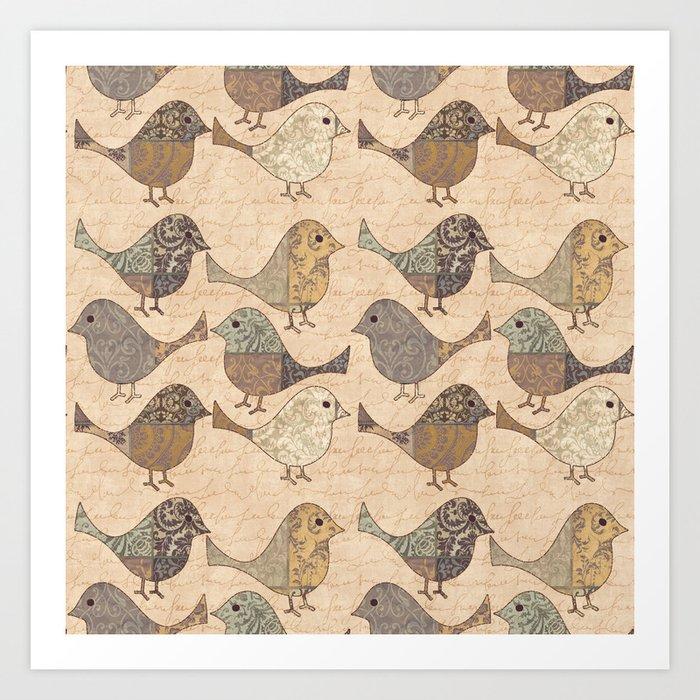 Nostalgic Autumn Patchwork Bird Pattern in warm retro colors #autumndecoration Art Print