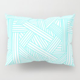 Sketchy Abstract (Aqua & White Pattern) Pillow Sham
