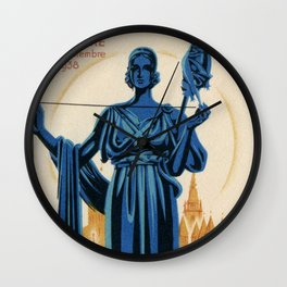 1938 Art deco Textile Expo Brussels Wall Clock