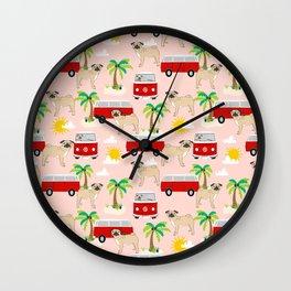 Pug beach mini van tropical palm tree surfing beach pet friendly dog breed dog art Wall Clock