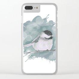 Cute little winter bird Clear iPhone Case