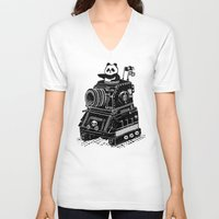 panda V-neck T-shirts featuring Panda by Ronan Lynam