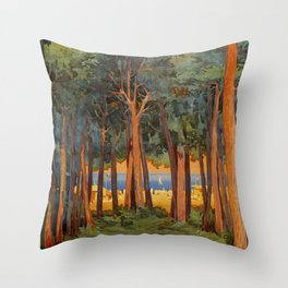 Viareggio woods and sea Throw Pillow