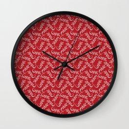 Beautiful delicate distressed white artistic crawling lizards. Elegant burgundy red lizard pattern Wall Clock