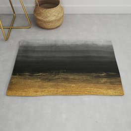 Black and Gold grunge stripes on modern grey concrete abstract background - Stripe -Striped Rug