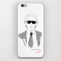 karl lagerfeld iPhone & iPod Skins featuring portret Karl Lagerfeld by Alyona Kaznacheeva