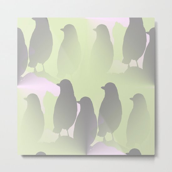 Spring mood - singing birds on a green pink background Metal Print