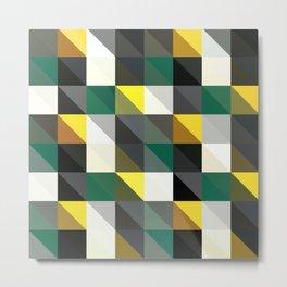 Forest Green, Dark Gray, Triangular  low poly, mosaic pattern background, Vector polygonal illustrat Metal Print